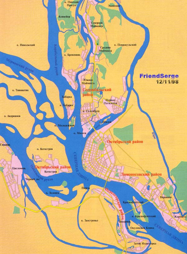 Карты Архангельска