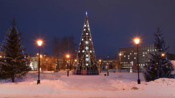 В Архангельске главная городская ёлка зажгла огни без команды Деда Мороза